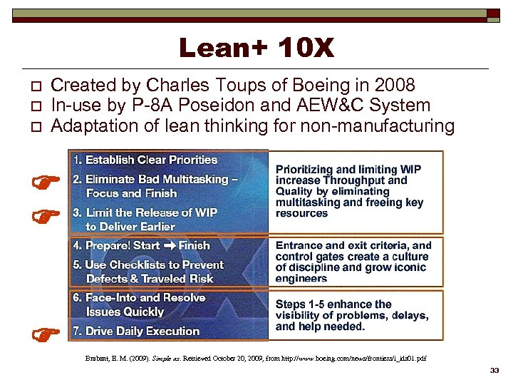 Lean+ 10 X o o o Created by Charles Toups of Boeing in 2008