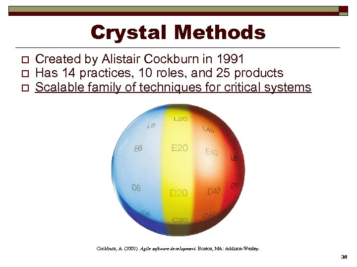 Crystal Methods o o o Created by Alistair Cockburn in 1991 Has 14 practices,