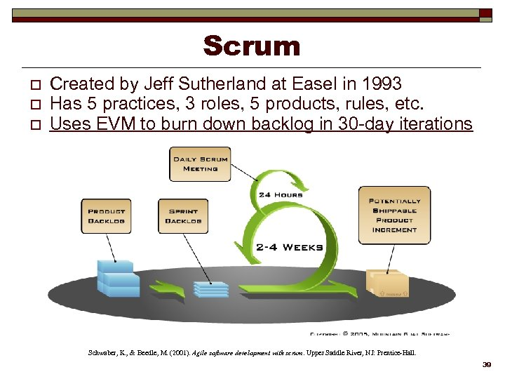 Scrum o o o Created by Jeff Sutherland at Easel in 1993 Has 5