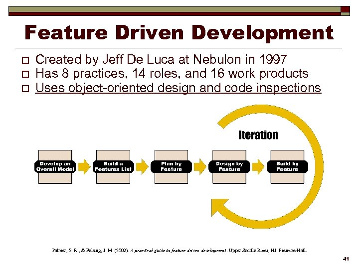 Feature Driven Development o o o Created by Jeff De Luca at Nebulon in