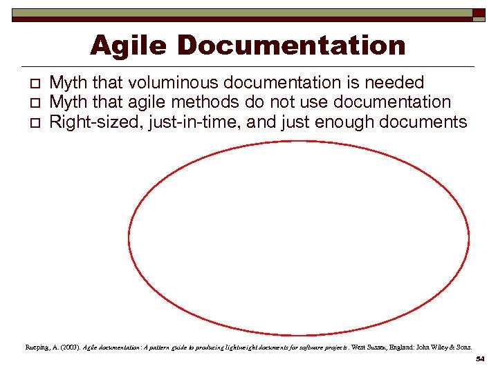 Agile Documentation o o o Myth that voluminous documentation is needed Myth that agile