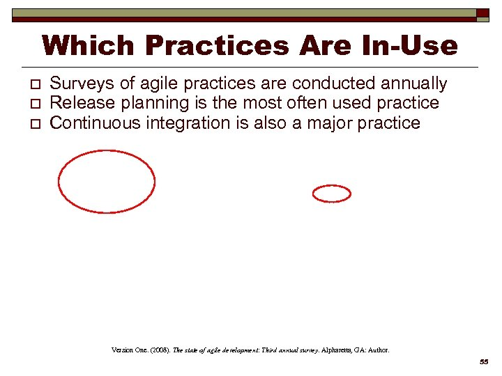 Which Practices Are In-Use o o o Surveys of agile practices are conducted annually