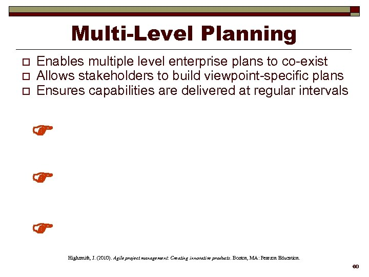 Multi-Level Planning o o o Enables multiple level enterprise plans to co-exist Allows stakeholders