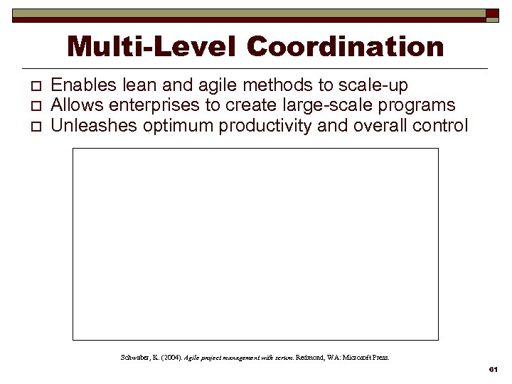 Multi-Level Coordination o o o Enables lean and agile methods to scale-up Allows enterprises