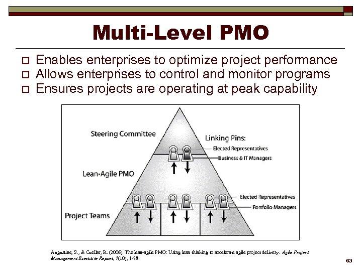 Multi-Level PMO o o o Enables enterprises to optimize project performance Allows enterprises to