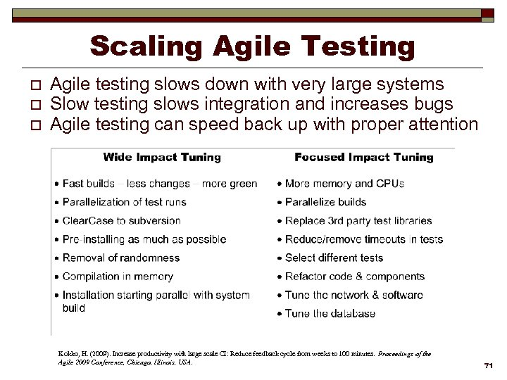Scaling Agile Testing o o o Agile testing slows down with very large systems