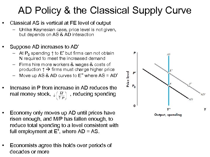 AD Policy & the Classical Supply Curve • Classical AS is vertical at FE