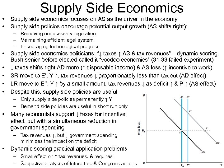 Supply Side Economics • • Supply side economics focuses on AS as the driver
