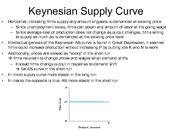 Keynesian Supply Curve • • • Horizontal, indicating firms supply any amount of goods