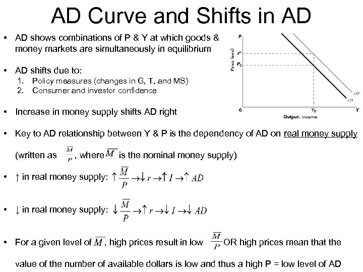 AD Curve and Shifts in AD • AD shows combinations of P & Y