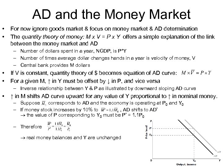 AD and the Money Market • • For now ignore goods market & focus