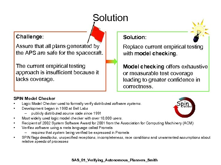 Solution Challenge: Solution: Assure that all plans generated by the APS are safe for