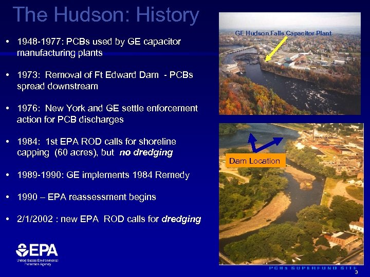 The Hudson: History • 1948 -1977: PCBs used by GE capacitor manufacturing plants GE