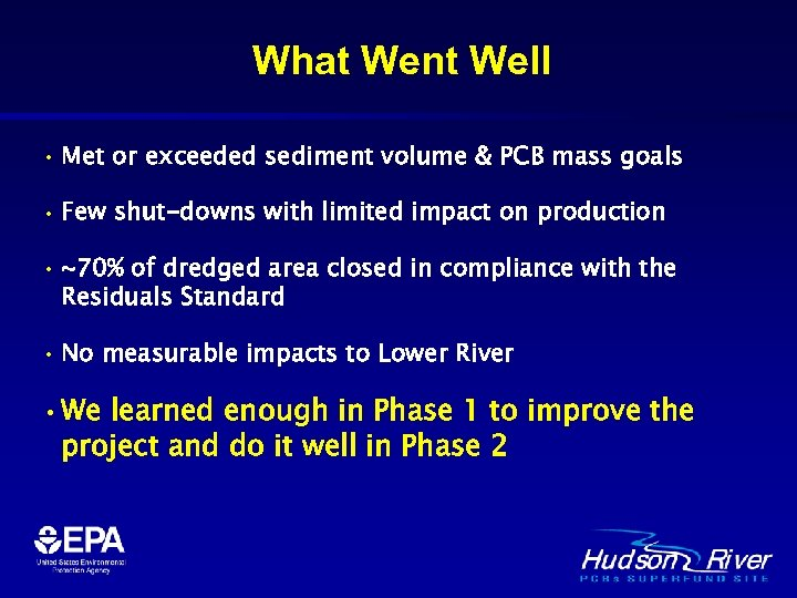 What Went Well • Met or exceeded sediment volume & PCB mass goals •