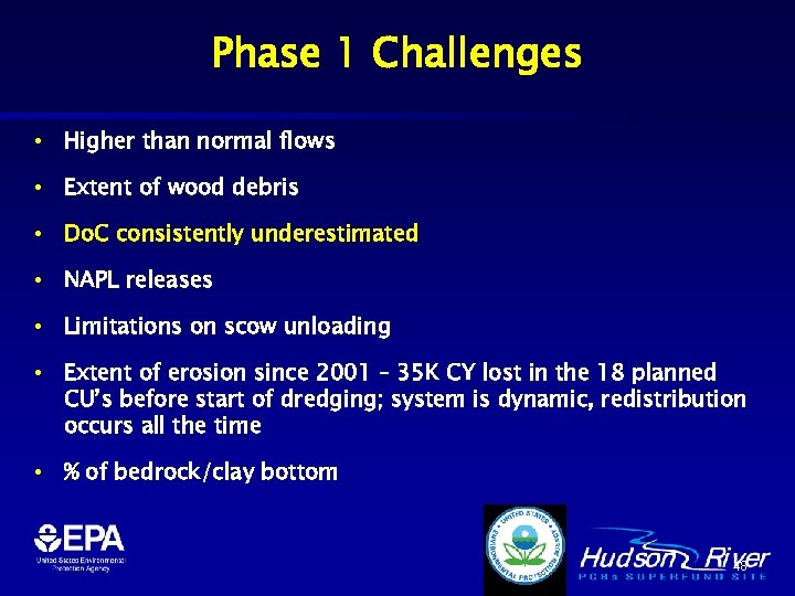 Phase 1 Challenges • Higher than normal flows • Extent of wood debris •