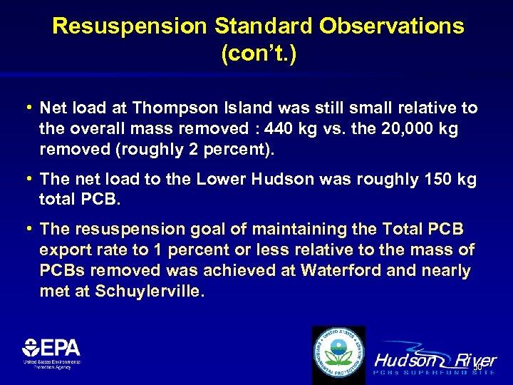 Resuspension Standard Observations (con't. ) • Net load at Thompson Island was still small