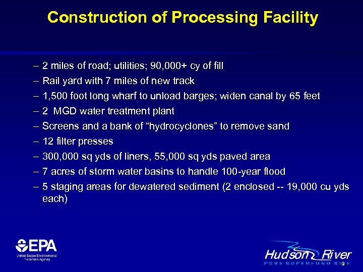 Construction of Processing Facility – – – – – 2 miles of road; utilities;