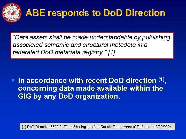"ABE responds to Do. D Direction ""Data assets shall be made understandable by publishing"