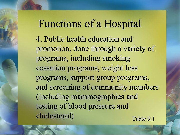 Functions of a Hospital 4. Public health education and promotion, done through a variety