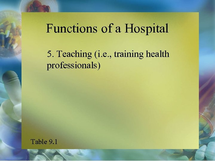 Functions of a Hospital 5. Teaching (i. e. , training health professionals) Table 9.