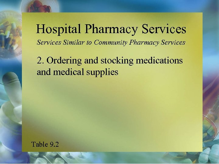 Hospital Pharmacy Services Similar to Community Pharmacy Services 2. Ordering and stocking medications and