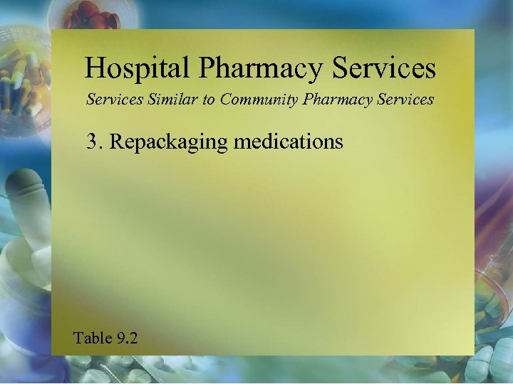 Hospital Pharmacy Services Similar to Community Pharmacy Services 3. Repackaging medications Table 9. 2