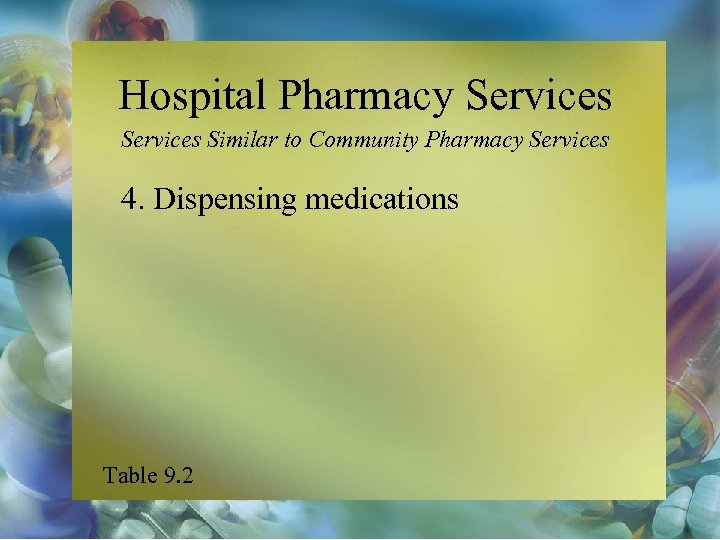 Hospital Pharmacy Services Similar to Community Pharmacy Services 4. Dispensing medications Table 9. 2