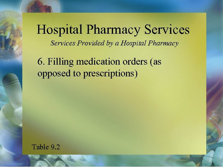 Hospital Pharmacy Services Provided by a Hospital Pharmacy 6. Filling medication orders (as opposed