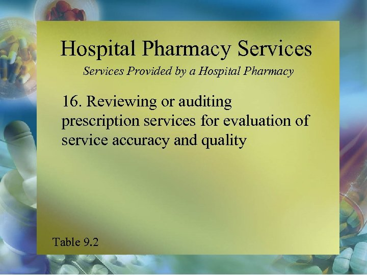 Hospital Pharmacy Services Provided by a Hospital Pharmacy 16. Reviewing or auditing prescription services