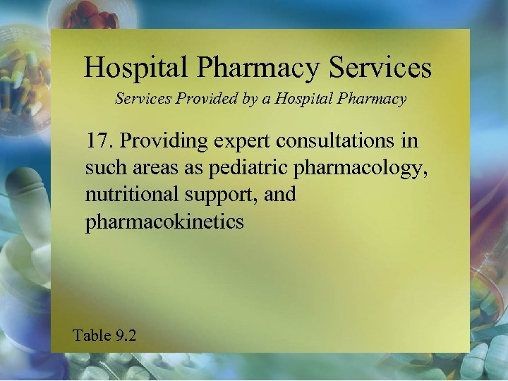 Hospital Pharmacy Services Provided by a Hospital Pharmacy 17. Providing expert consultations in such