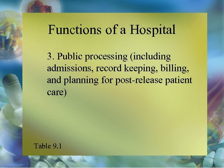 Functions of a Hospital 3. Public processing (including admissions, record keeping, billing, and planning