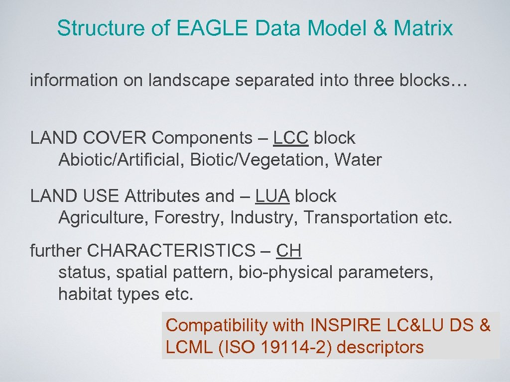 Structure of EAGLE Data Model & Matrix information on landscape separated into three blocks…