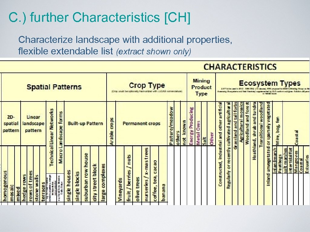 C. ) further Characteristics [CH] Characterize landscape with additional properties, flexible extendable list (extract