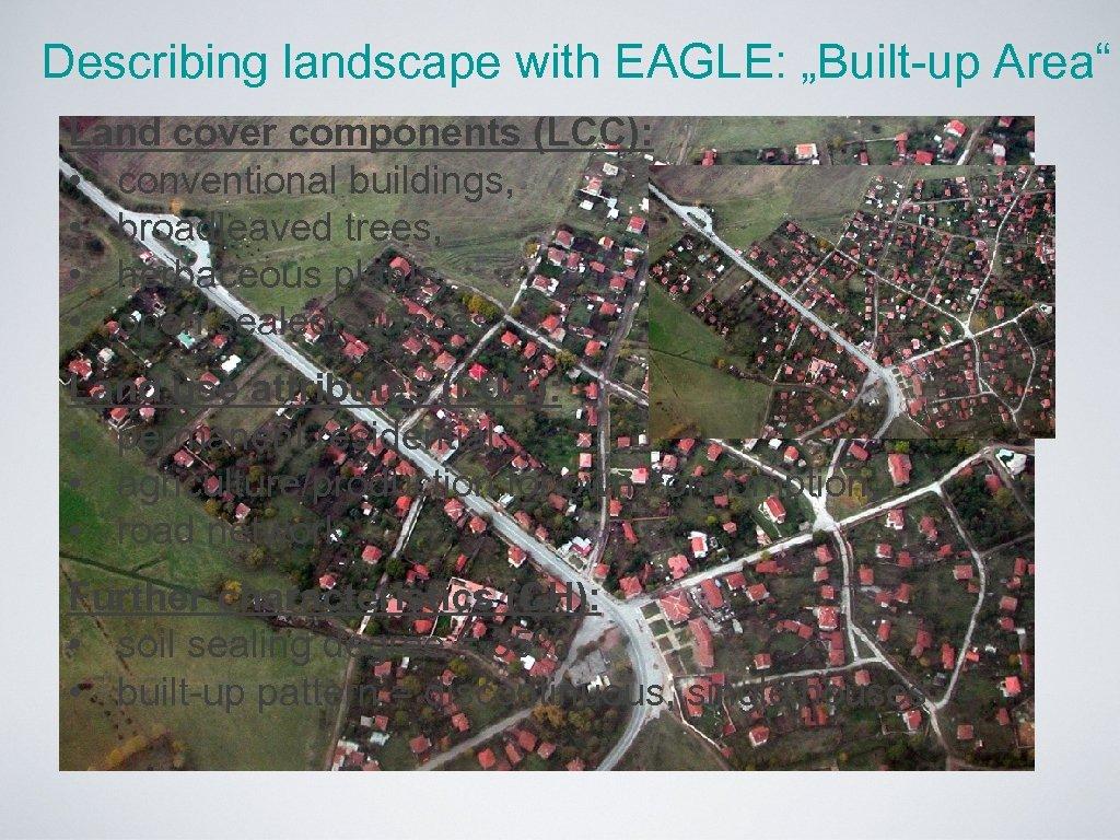 "Describing landscape with EAGLE: ""Built-up Area"" Land cover components (LCC): • conventional buildings, •"