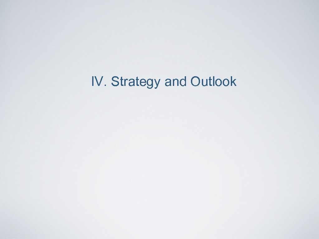 IV. Strategy and Outlook