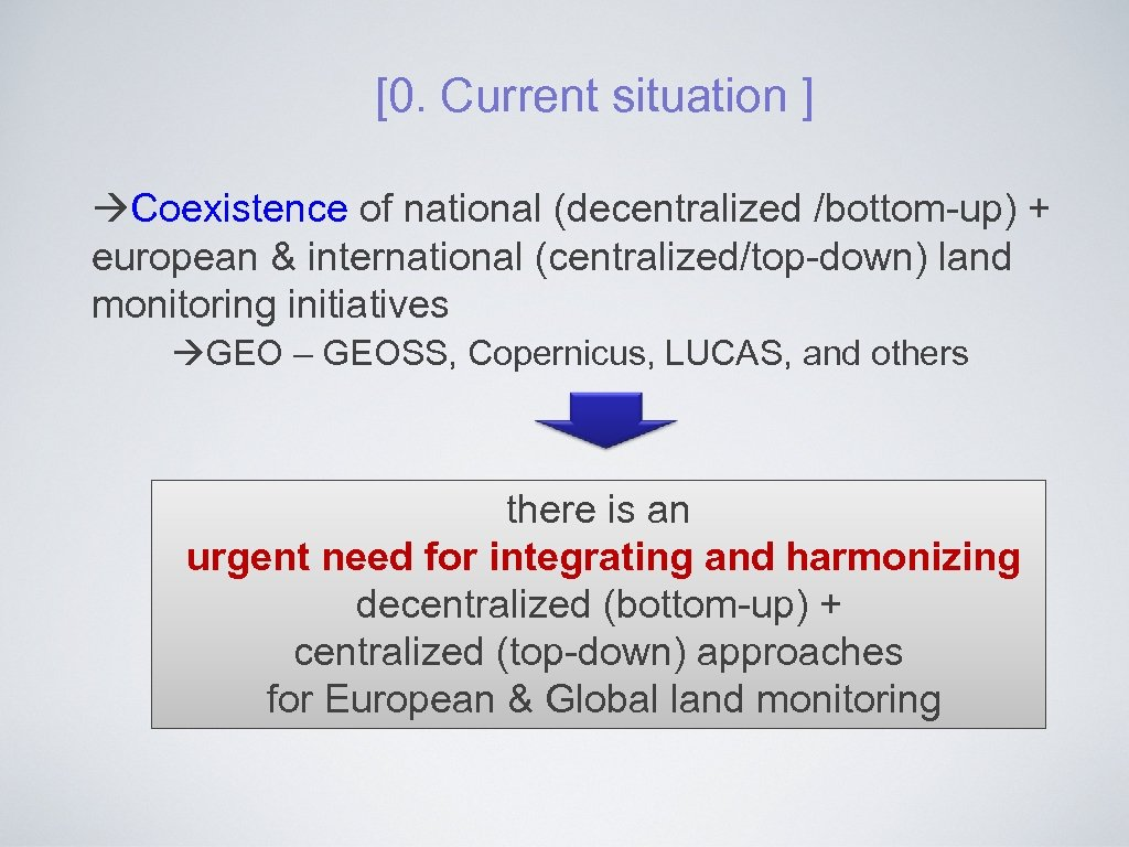 [0. Current situation ] Coexistence of national (decentralized /bottom-up) + european & international (centralized/top-down)