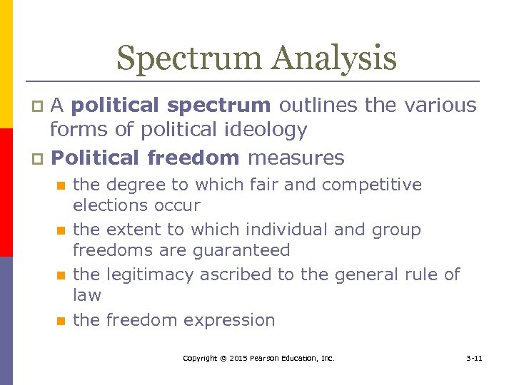 Spectrum Analysis A political spectrum outlines the various forms of political ideology p Political