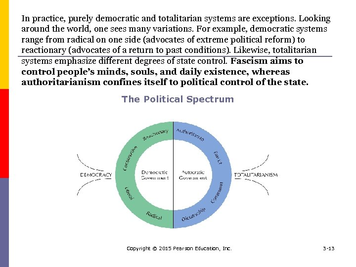 In practice, purely democratic and totalitarian systems are exceptions. Looking around the world, one