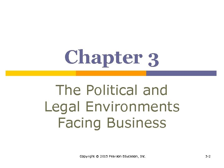 Chapter 3 The Political and Legal Environments Facing Business Copyright © 2015 Pearson Education,