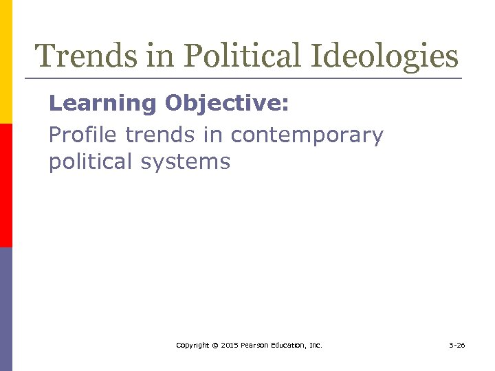 Trends in Political Ideologies Learning Objective: Profile trends in contemporary political systems Copyright ©