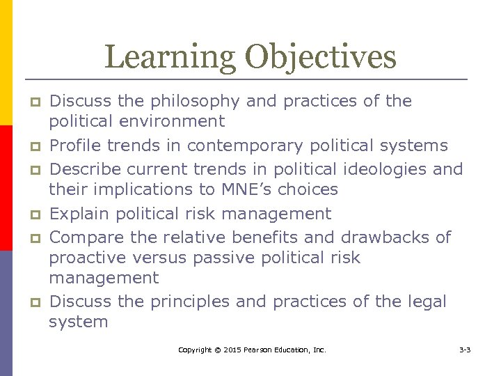 Learning Objectives p p p Discuss the philosophy and practices of the political environment