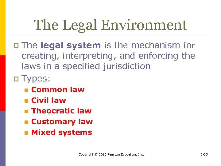 The Legal Environment The legal system is the mechanism for creating, interpreting, and enforcing
