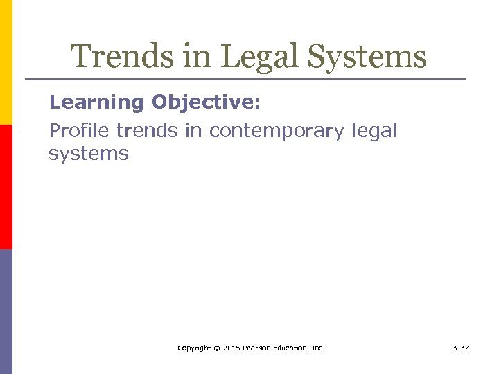 Trends in Legal Systems Learning Objective: Profile trends in contemporary legal systems Copyright ©