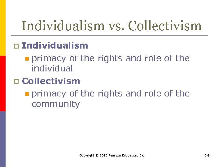 Individualism vs. Collectivism Individualism n primacy of the rights and role of the individual