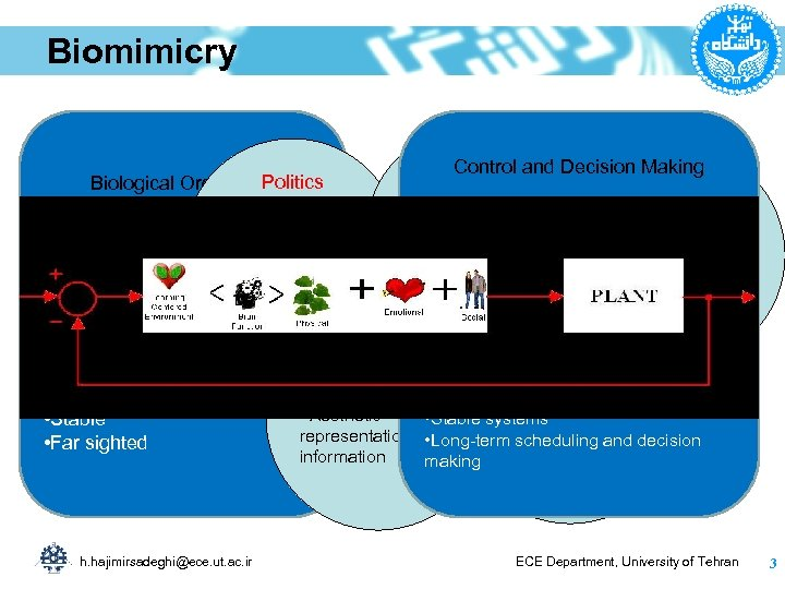 Biomimicry Politics Biological Organisms –Consensus among the • Living in complex uncertain members in