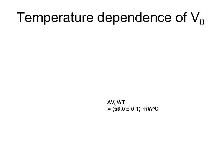 Temperature dependence of V 0 DV 0/DT = (56. 0 ± 0. 1) m.