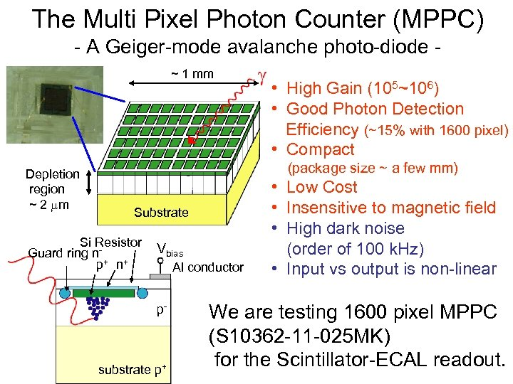 The Multi Pixel Photon Counter (MPPC) - A Geiger-mode avalanche photo-diode ~ 1 mm