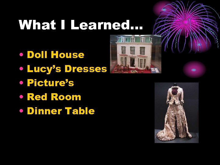 What I Learned… • • • Doll House Lucy's Dresses Picture's Red Room Dinner