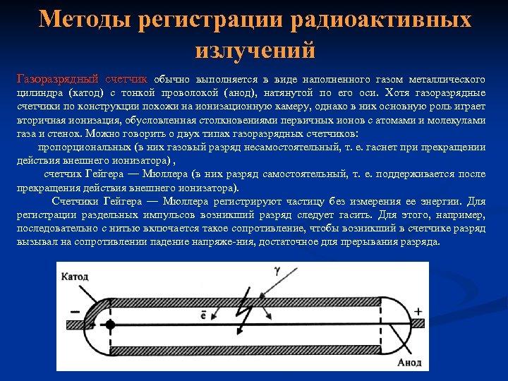 Методы регистрации радиоактивных излучений Газоразрядный счетчик обычно выполняется в виде наполненного газом металлического цилиндра