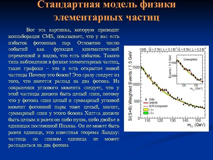Стандартная модель физики элементарных частиц Вот эта картинка, которую приводит коллаборация CMS, показывает, что